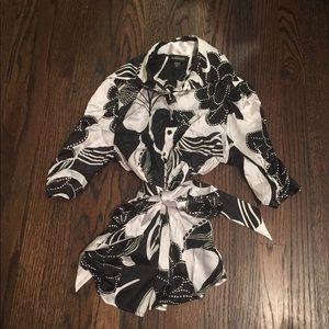Black & White Silk Bebe Button Down Blouse